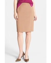 Светло-коричневая юбка-карандаш