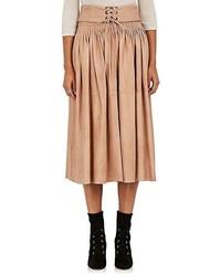 Светло-коричневая юбка-миди со складками