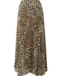 Светло-коричневая юбка-миди с леопардовым принтом