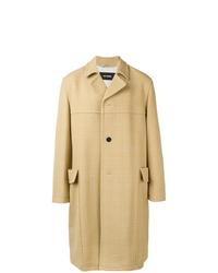 Светло-коричневое длинное пальто в шотландскую клетку