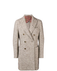 """Светло-коричневое длинное пальто с узором """"в ёлочку"""""""