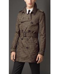 """Светло-коричневое длинное пальто с узором """"гусиные лапки"""""""
