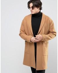 Мужское светло-коричневое длинное пальто от Asos