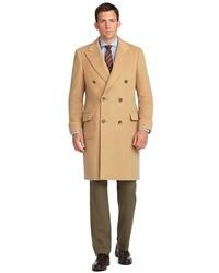 Мужское светло-коричневое длинное пальто от Brooks Brothers