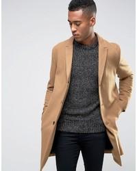 Светло-коричневое длинное пальто от Jack and Jones