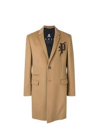 Светло-коричневое длинное пальто от Philipp Plein