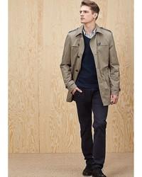 Мужское светло-коричневое длинное пальто от s.Oliver