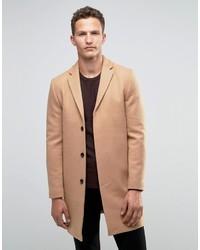 Светло-коричневое длинное пальто от Selected