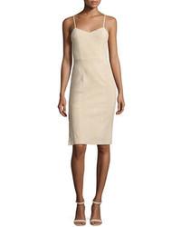Светло-коричневое замшевое платье-миди
