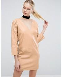 Женское светло-коричневое кожаное платье прямого кроя от Asos