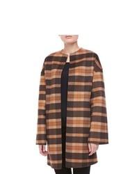 Светло-коричневое пальто в шотландскую клетку