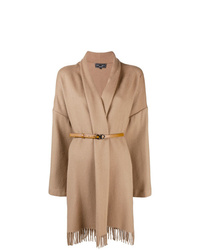 Светло-коричневое пальто-накидка c бахромой от Salvatore Ferragamo