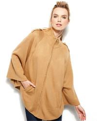 Светло-коричневое пальто-накидка