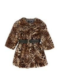 Светло-коричневое пальто с леопардовым принтом
