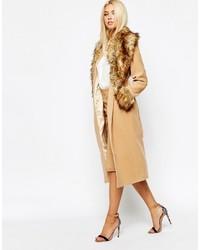 Женское светло-коричневое пальто с меховым воротником от Missguided