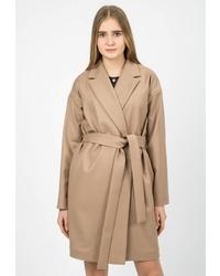 Женское светло-коричневое пальто от Madlen