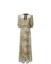 Светло-коричневое платье-макси с леопардовым принтом