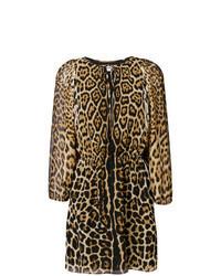 Светло-коричневое платье прямого кроя с леопардовым принтом