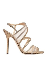 Женские светло-коричневые босоножки на каблуке в сеточку от Jimmy Choo