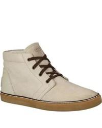 Светло-коричневые ботинки дезерты из плотной ткани