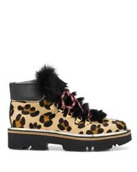 Женские светло-коричневые ботинки на шнуровке из ворса пони с леопардовым принтом от Pollini