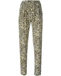 Женские светло-коричневые брюки-галифе с леопардовым принтом от Stella McCartney