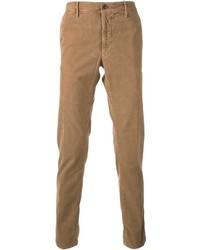 Мужские светло-коричневые вельветовые классические брюки от Incotex