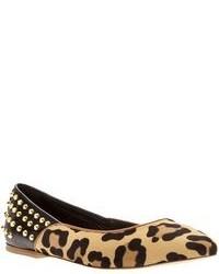 Светло-коричневые замшевые балетки с леопардовым принтом