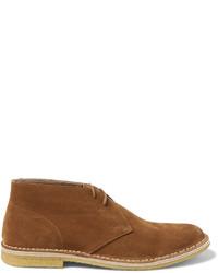 Светло-коричневые замшевые ботинки дезерты от Dries Van Noten