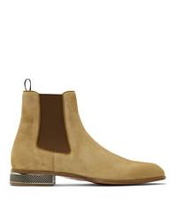 Мужские светло-коричневые замшевые ботинки челси от Christian Louboutin