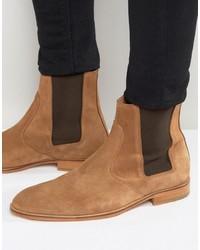 Мужские светло-коричневые замшевые ботинки челси от Selected