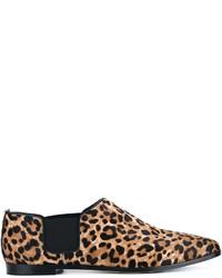Женские светло-коричневые замшевые лоферы с леопардовым принтом от Jimmy Choo