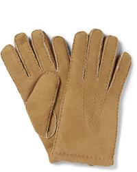 Светло-коричневые замшевые перчатки