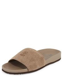 Светло-коричневые замшевые сандалии