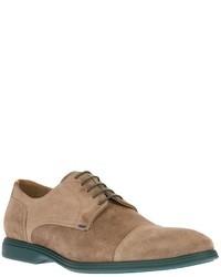 Светло-коричневые замшевые туфли дерби