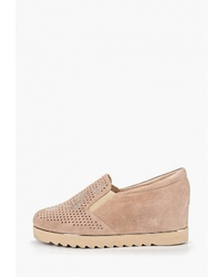 Светло-коричневые замшевые туфли на танкетке от Balex