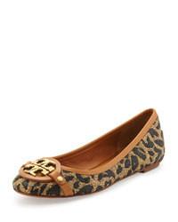 Светло-коричневые кожаные балетки с леопардовым принтом
