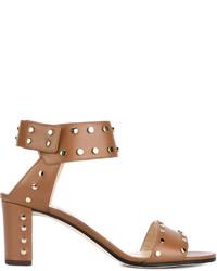 Женские светло-коричневые кожаные босоножки на каблуке с шипами от Jimmy Choo