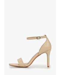 Светло-коричневые кожаные босоножки на каблуке от Diamantique
