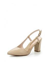 Женские светло-коричневые кожаные босоножки на каблуке от Laura Valorosa