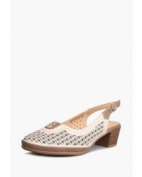 Светло-коричневые кожаные босоножки на каблуке от T.Taccardi
