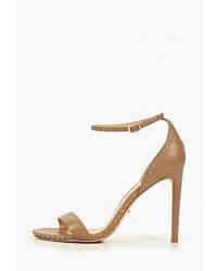 Светло-коричневые кожаные босоножки на каблуке от Vitacci