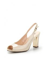 Светло-коричневые кожаные босоножки на каблуке от Zenden Woman
