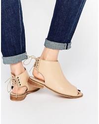 Женские светло-коричневые кожаные ботильоны на шнуровке от Asos