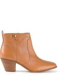 Светло-коричневые кожаные ботильоны