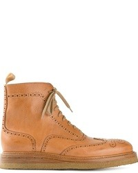 Светло-коричневые кожаные ботинки броги