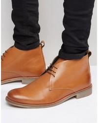 Светло-коричневые кожаные ботинки дезерты