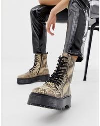 Женские светло-коричневые кожаные ботинки на шнуровке со змеиным рисунком от Bronx