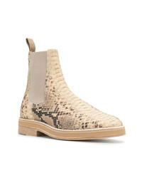 Светло-коричневые кожаные ботинки челси со змеиным рисунком
