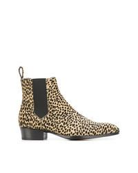 Светло-коричневые кожаные ботинки челси с леопардовым принтом